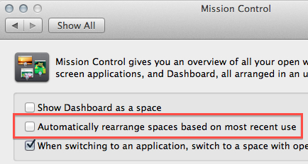 Rearranging Spaces settings are quick and easy to change