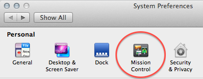Rearranging Spaces settings are set in the Mission Control section of the System Preferences Panel